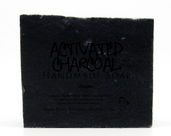 Activated Charcoal Handmade Soap, Best Soap Bar Scrub to Remove Odors, Toxins, Acne, Vegan, Organic, 100% Natural
