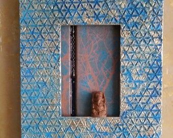 Tree of Life:  Original encaustic mixed media collage upcycled assemblage art in blue and gold with Ganesha by Leslee Lukosh of Foundturtle