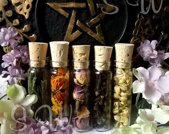 Ritual herbs in bottles, You pick,  Pagan  Sacred Herbs in glass Vials,  Witchcraft,  Magical herbs