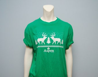 Vintage 198's Aspen, Colorado Reindeer Christmas Tree Green T-Shirt - Hanes Fifty-Fifty