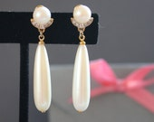 Vintage Faux Pearl and Rhinestone Teardrop Post Earrings