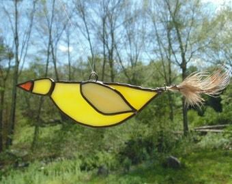 Stained glass suncatcher, yellow bird, bird suncatcher, window decoration, glass bird ornament, stained glass art, suncatchers, gift for her