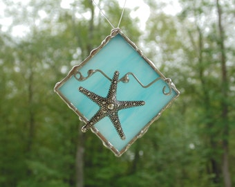 Stained glass suncatcher ornament, ocean beach starfish summer home decor, unique one of a kind gift under 20