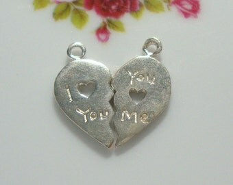Handmade LOVE charm, 18x9mm I love you charm, you love me charm, Sterling Silver Love pendant charm, PC-0149