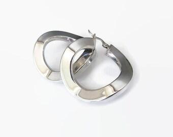 Italy Sterling Earrings, Hoop Earrings, Wavy Hoops, Silver 925, Sterling Hoops, Italian Jewelry, Vintage Earrings, Vintage Jewelry