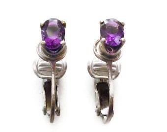 Sterling Amethyst Stud Earrings - Amethyst Gemstone, Violet Purple, Clip Back Earrings, Silver Jewelry, February Birthstone