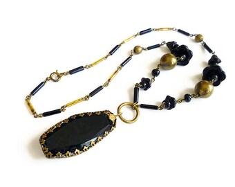 Art Deco Necklace, Czech Necklace, Czechoslovakia, Jet Black Glass, Gold Tone Beads, Antique Jewelry