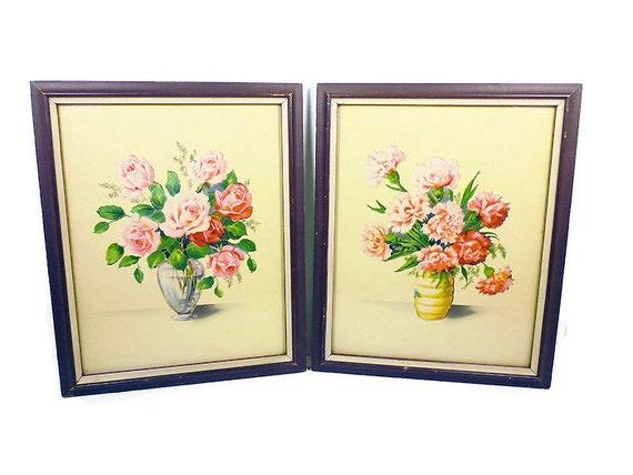 vintage art prints floral still life framed french rustic