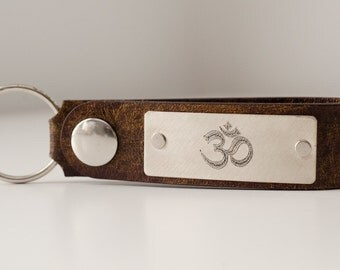 Om Namaste Personalized Leather Key Chain Accessory, Anniversary Gift, Custom Keychain, Wedding Gift, ee cummings