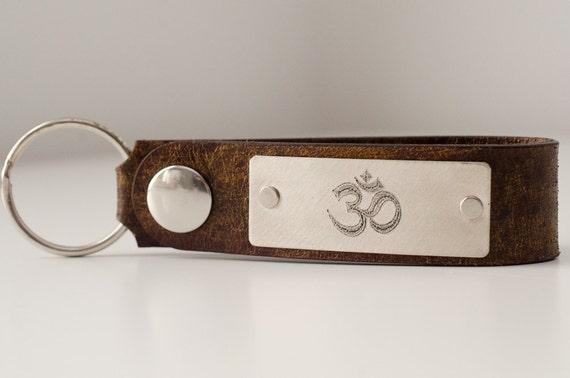 Om Namaste Personalized Leather Key Chain Accessory, Anniversary Gift, Custom Keychain, Wedding Gift, ee cummings