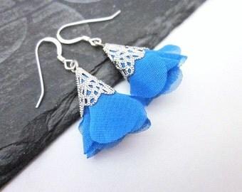 Silver Blue Earrings -- Blue Flower Earrings -- Spring Blue Earrings -- Bright Blue Earrings -- Blue Fabric Earrings -Flower Fabric Earrings