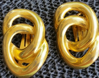 Vintage  gold Plated Earrings Clip-on signed ALEXIS KIRK