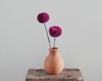Pom Pom Flowers - Pink Fuchsia Flowers - Rustic Wedding Decor - Minimalist Home Decor - Simple - Baby Nursery/Kids' Room - Natural Twigs
