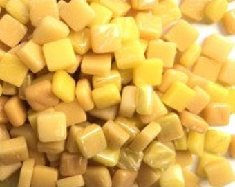8mm Tiny Yellow Mix Glass Mosaic Tiles - 50 grams//Discount Mosaic Supplies//mini tiles//micromosaic