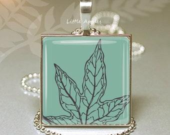 Leaf necklace, glass tile pendant, skeleton leaf, botanical jewelry, autumn fall, forest, leaf graphics