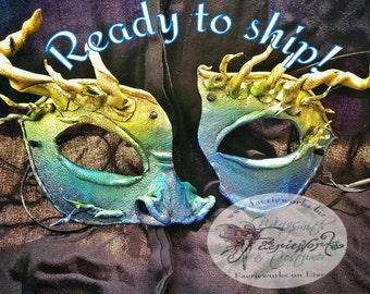Dragon Mask Sea Dragon Half Mask His & Hers LARP Cosplay Costume Fair Festival Faerieworks