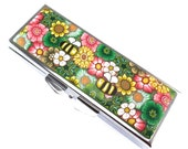 Handmade Polymer Clay Covered Pill Case with 3 Compartments, Flowers and Bees