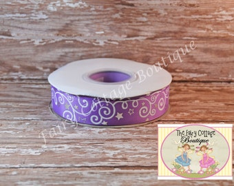 Purple with White Swirls and Silver Stars 7/8 inch Ribbon