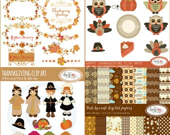 Thanksgiving clipart, digital frames, labels and digital papers bundle, Thanksgiving digital paper, B333