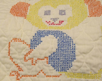 Yellow Embroidered Baby Quilt 1980s Animals