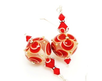 Red Earrings, Lampwork Earrings, Glass Bead Earrings, Glass Art Earrings, Flower Earrings, Unique Earrings, Floral Earrings
