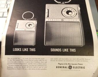 GE model #p 8511 ad circa 1961. 10 1/2 x 14 approx. pocket radio.