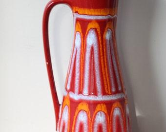 Mid Century Modern German Pottery Large Floor Vase, West Germany, Red, Orange, Danish Modern, Modernist