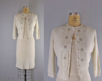 1940s Vintage Sweater Dress l 40s Ivory Sweater Dress and Matching Cardigan