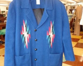 CLEARANCE SALE Vintage 1950's Ortega MENS Chimayo Jacket Royal Blue Size xxL