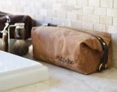 NO. 345 Personalized Men's Toiletry Bag, Dopp Kit, Brown Waxed Cotton Canvas, Horween Leather, Made in the US