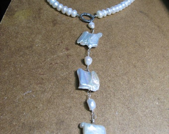 Natural Fresh Water Pearl Statement  Y Necklace
