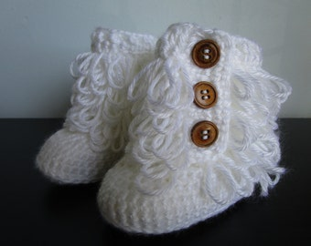 Ugg Boots, Uggs, Fits Babies 6-12 Months, crochet loop boots, Slippers, Neutral Color, Photo Prop, Baby Ugg Style Boots, Crochet Booties