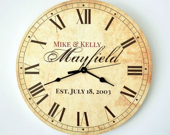 Personalized Rustic Clock 13 Inch Diameter by MRC Wood Products