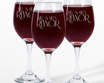 Personalized Wine Glasses Engraved Monogram Wine Glasses Custom Wine Glass Sold Individually