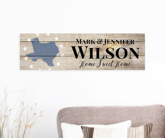 Rustic Barn Wood Sign Family Name Sign State Shape Sign 7x24