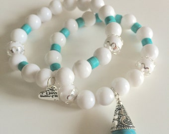 White and Turquoise Stackable Beaded Bracelets with Heart and Silver and Turquoise Teadrop Charm