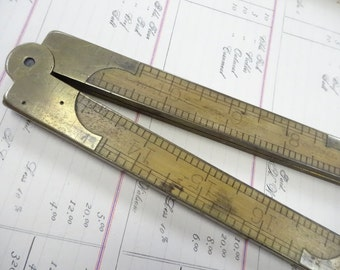 Antique Pine Meadow Arch Brass Ends Folding Wooden Ruler Carpenters Hand Tool Rule Old Fancy Hardware Collectible
