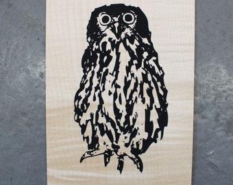 Owl - Screen print on wood veneer // Hibou - Sérigraphie sur bois placage de bois
