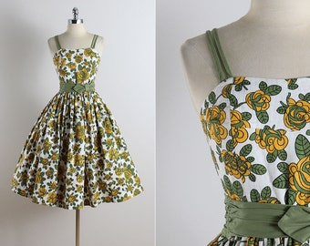 Vintage 50s dress | vintage 1950s dress | floral cotton dress xs | 5726