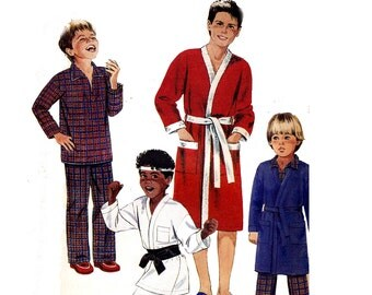 80s Retro Teen Boys Jacket Robe Pajamas Pattern McCall's 2054 Vintage Sewing Pattern Size 14 - 16 UNCUT Factory Folds