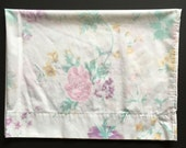 2 Vintage Pillowcases - White With Pink and Purple Flowers - Cannon