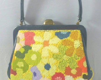 Lovely Multi-Colored Knitted Bag with Black Vinyl Trim Unsigned