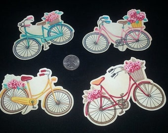 4 Pc Colorful Old World Retro Bicycle Flower Basket Planter No Sew Iron On Appliques Cotton Patches