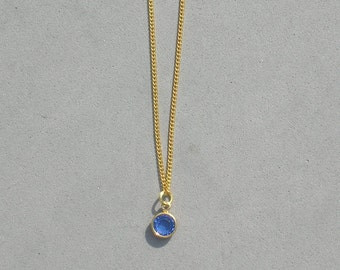 September Birthstone- Sapphire Gold Plated Drop Necklace