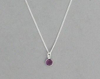 February Birthstone- Amethyst Drop Necklace