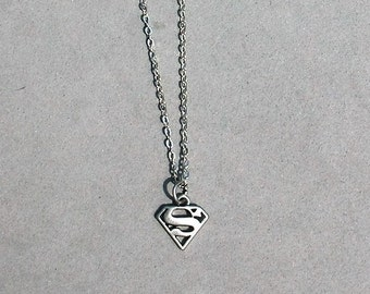 Superman Necklace- Your choice Black Leather Cord or Antique Silver Chain