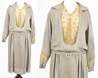 1920s Dress, 20s Dress, Art Deco Silk and Lace Drop Waist Flapper Dress, Large