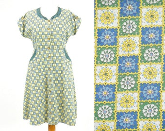 1940s Atomic Dress, 40s Dress, Teal and Yellow 40s Novelty Print Dress, Plus Size XL 16 - 18