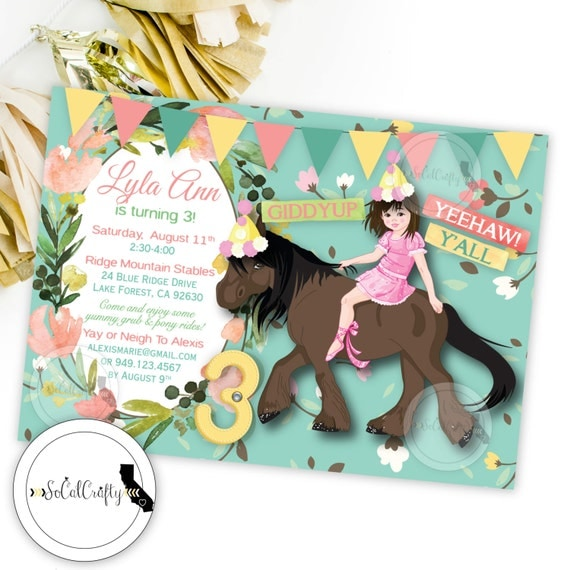 Cowgirl Birthday Party Invitation, Horse, Shabby Chic, Country, Teal Pink Yellow, DIY, Printed or Printable Invitations, Free Shipping