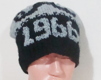 1966 Birthday gift, Hand knit hat, Adult hat, Born 1966, Personalized gift for men or women hat, winter hat, black, gray